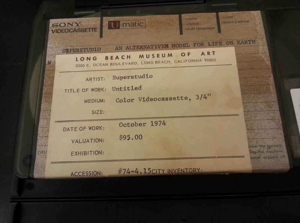 Fig. 4. The label of the videocassette. The Long Beach Museum of Art Video Archive, circa 1970-2000. 1972, the Getty Research Institute, 12 Feb. 2015.