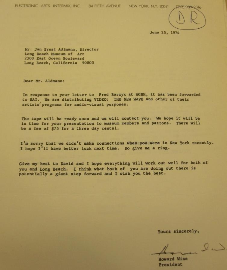 Fig. 6. The letter from Electronic Arts Intermix, Inc. to Howard Wise. The Long Beach Museum of Art Video Archive, circa 1970-2000. 1972, the Getty Research Institute, 12 Feb. 2015.
