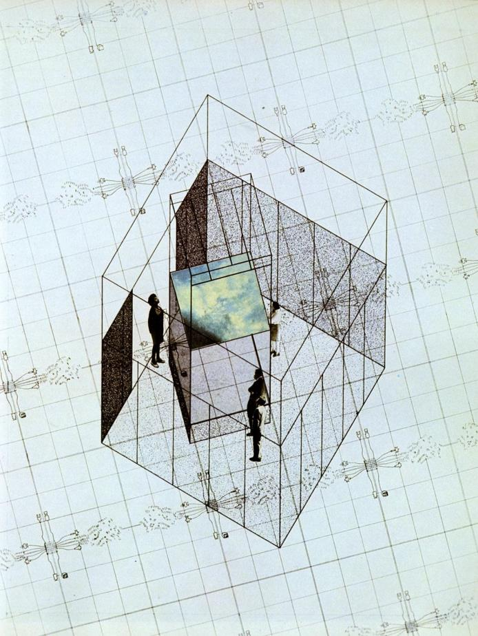 Fig. 9. Drawing of the exhibition cube at MoMA, Ambasz, Emilio. Italy: the new domestic   landscape: achievements and problems of Italian design. (New York: New York Graphic Society   Books, 1972) 241. Print.