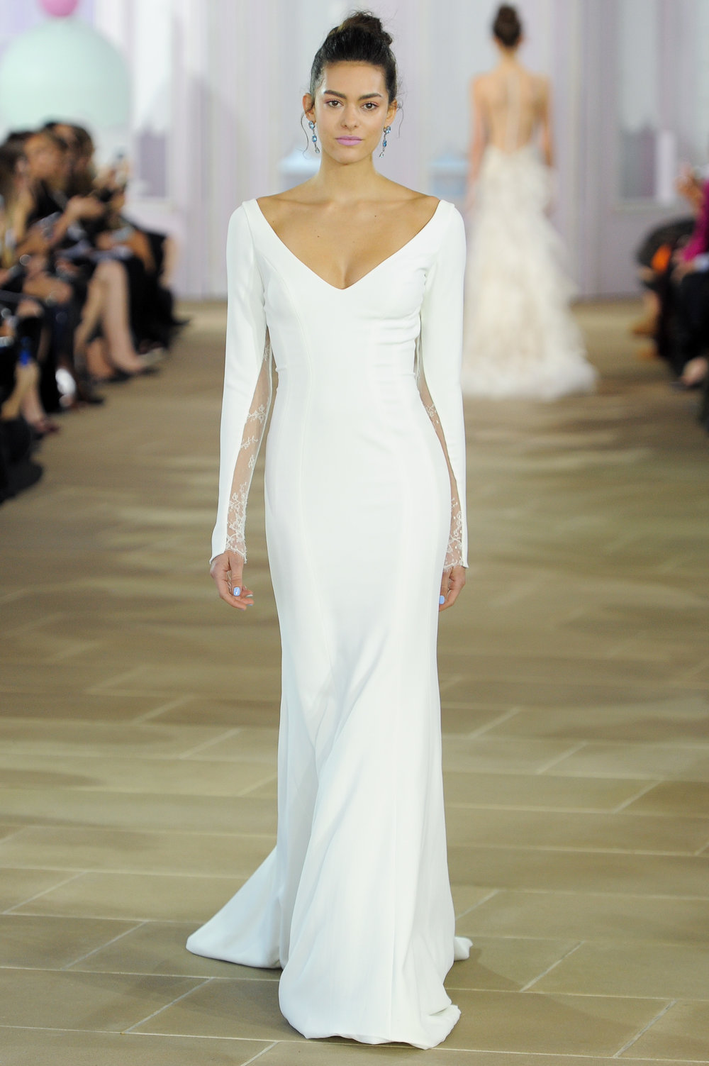 'Madeleine' - silk crepe trumpet gown with soft V-neck, long sleeves and lace inset detail.