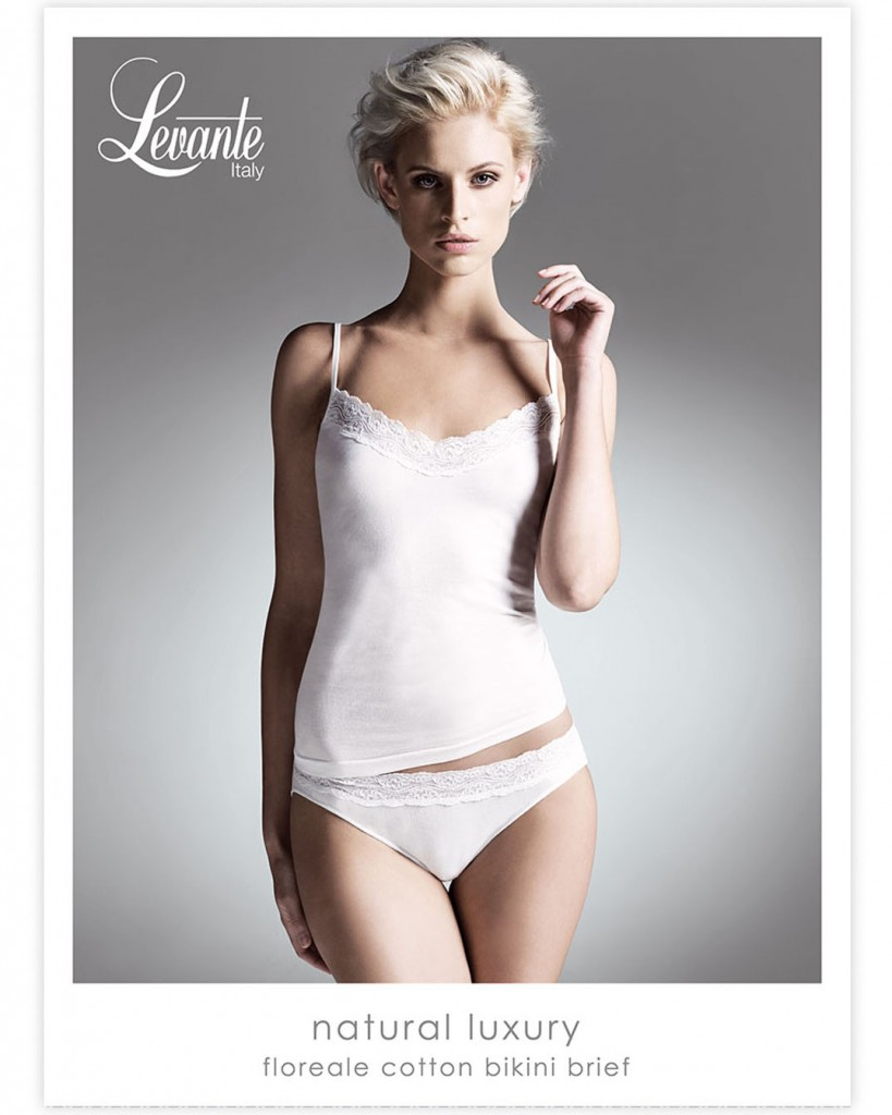 Levante – Natural Luxury Floreale cotton bikini brief Levante's Intimates collection focuses on fine feel good fabrics with comfort and finish top of mind. It's perfect if you're after clean lines, comfort and timeless elegance.