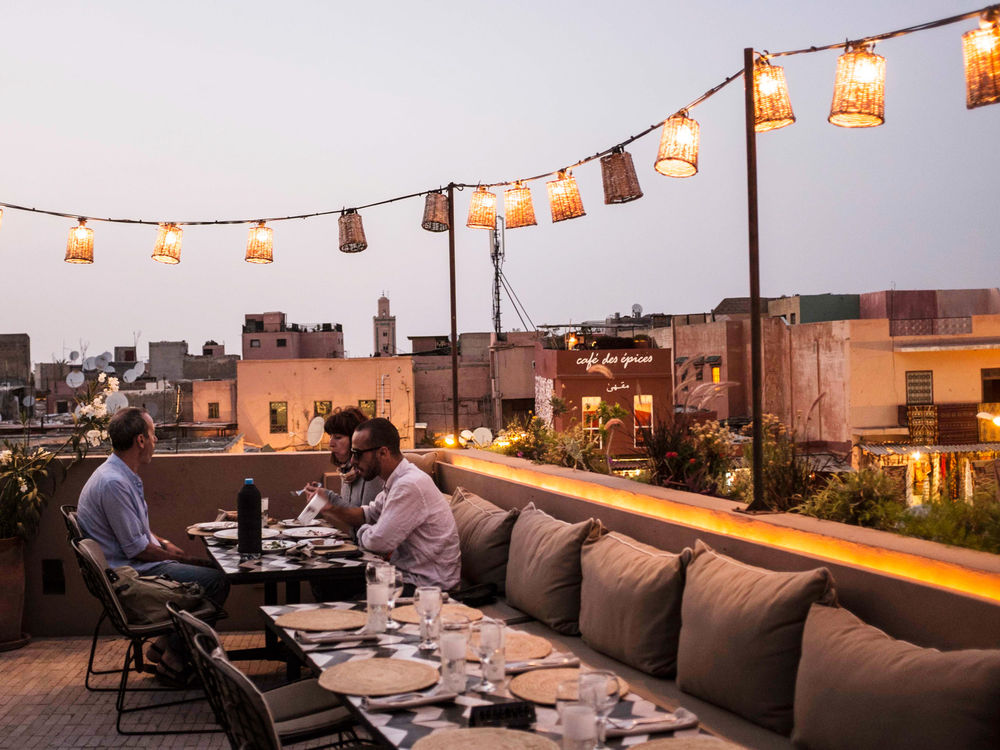 Rooftop dining at Cafe Nomad