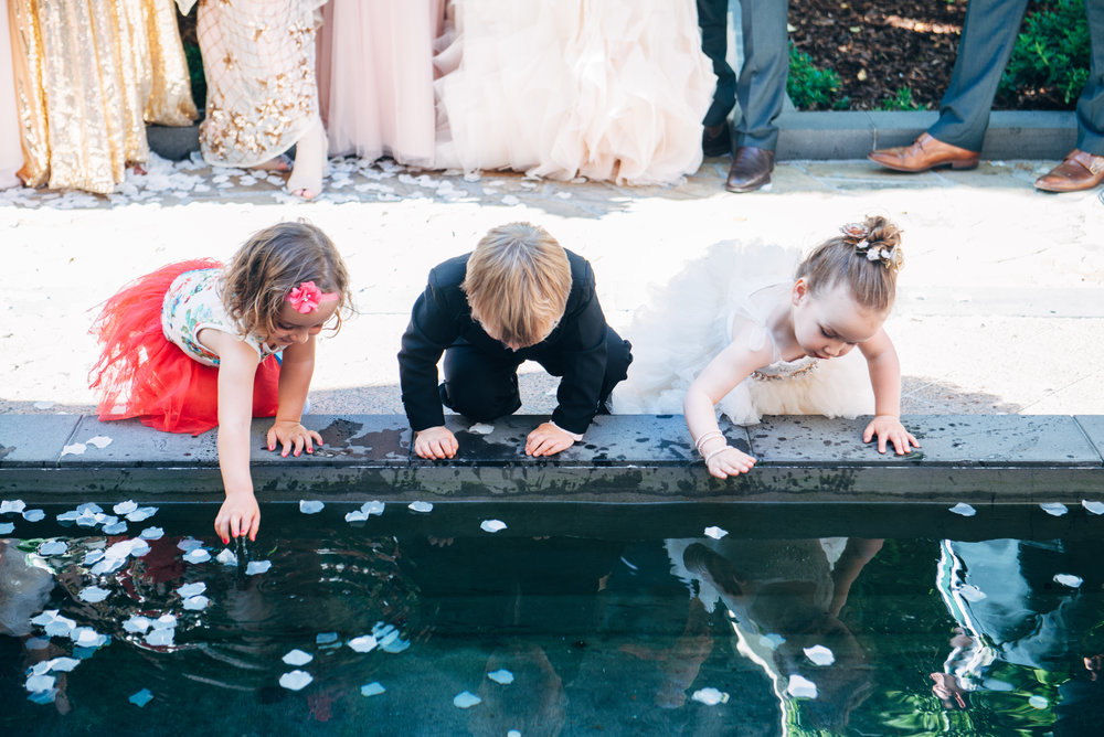 """Leilah almost fell into the water feature halfway through the ceremony! Children and animals, you can't work with them!"""