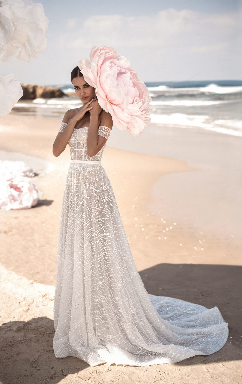 CHELSEA Strapless corseted ball gown adorned with hand beaded embroidery