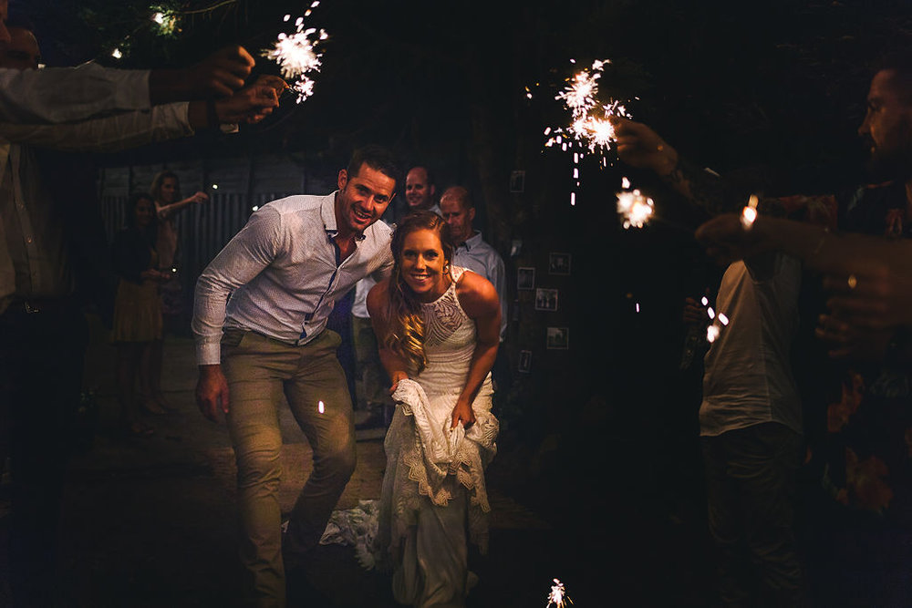 The wedding reception finished with a sparkler send off for the couple.