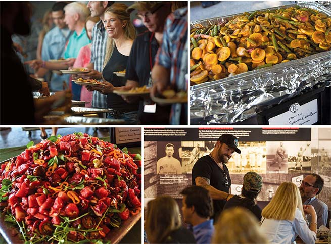 Clockwise: Eat and Greet guests in buffet line; Yellow squash and green beans;    Zac Brown greeting guests at Eat and Greet; Watermelon, cherry tomato, and Kalamata olive salad