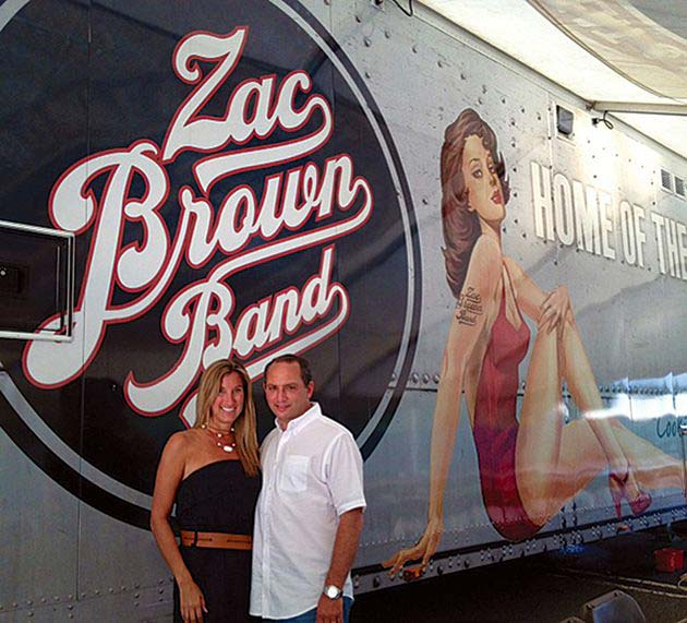 "Risa Feldman and Jeff Bernstein in front of ""Cookie"" at the Zac   Brown Band Eat and Greet in Holmdel, NJ,   photo courtesy of Risa Feldman"