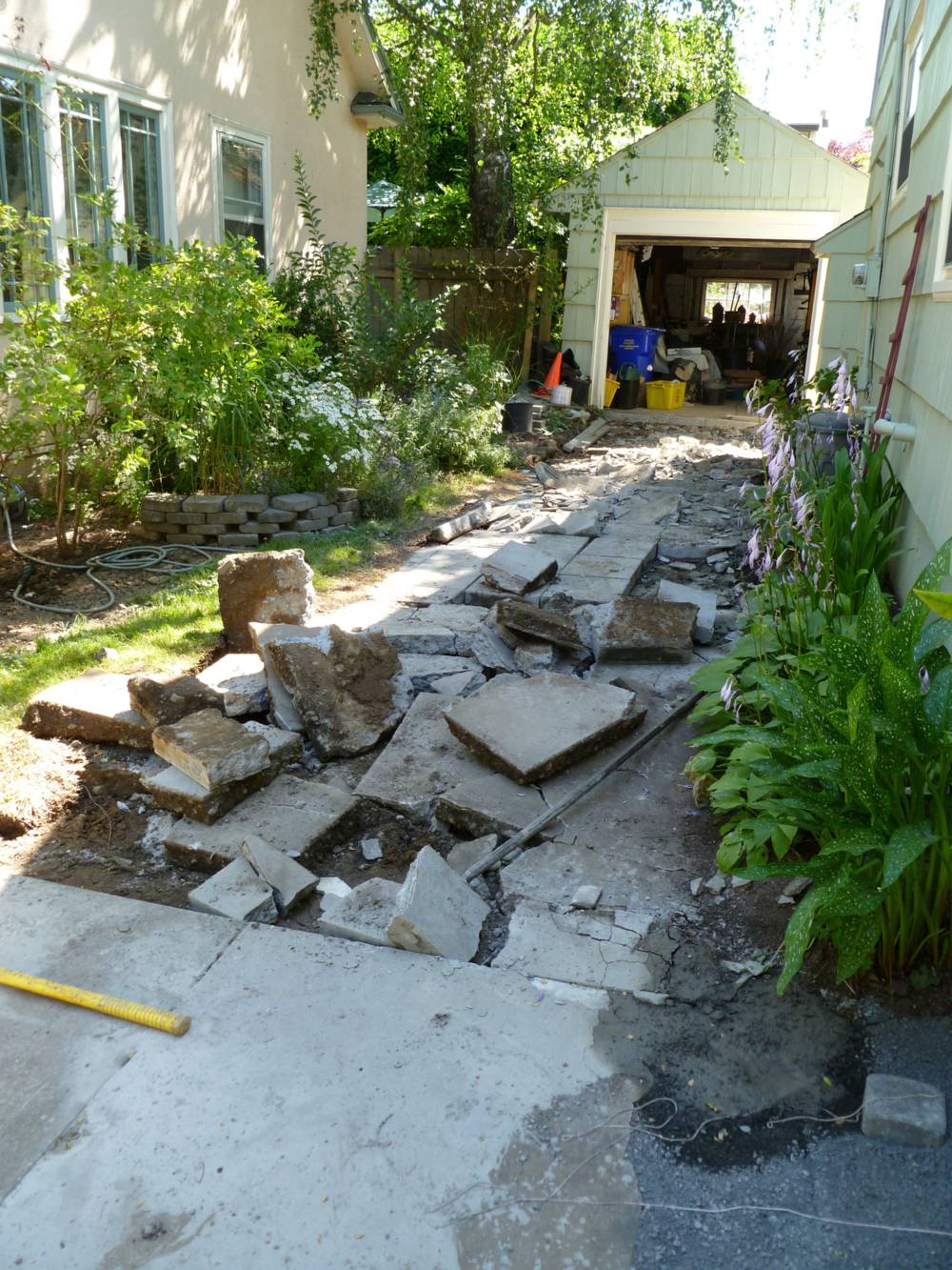 The driveway DURING demolition.  July 2010.
