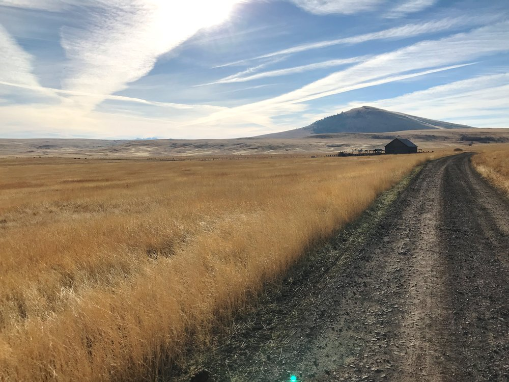 Duckett Road, Duckett Barn, and Harsin Butte.