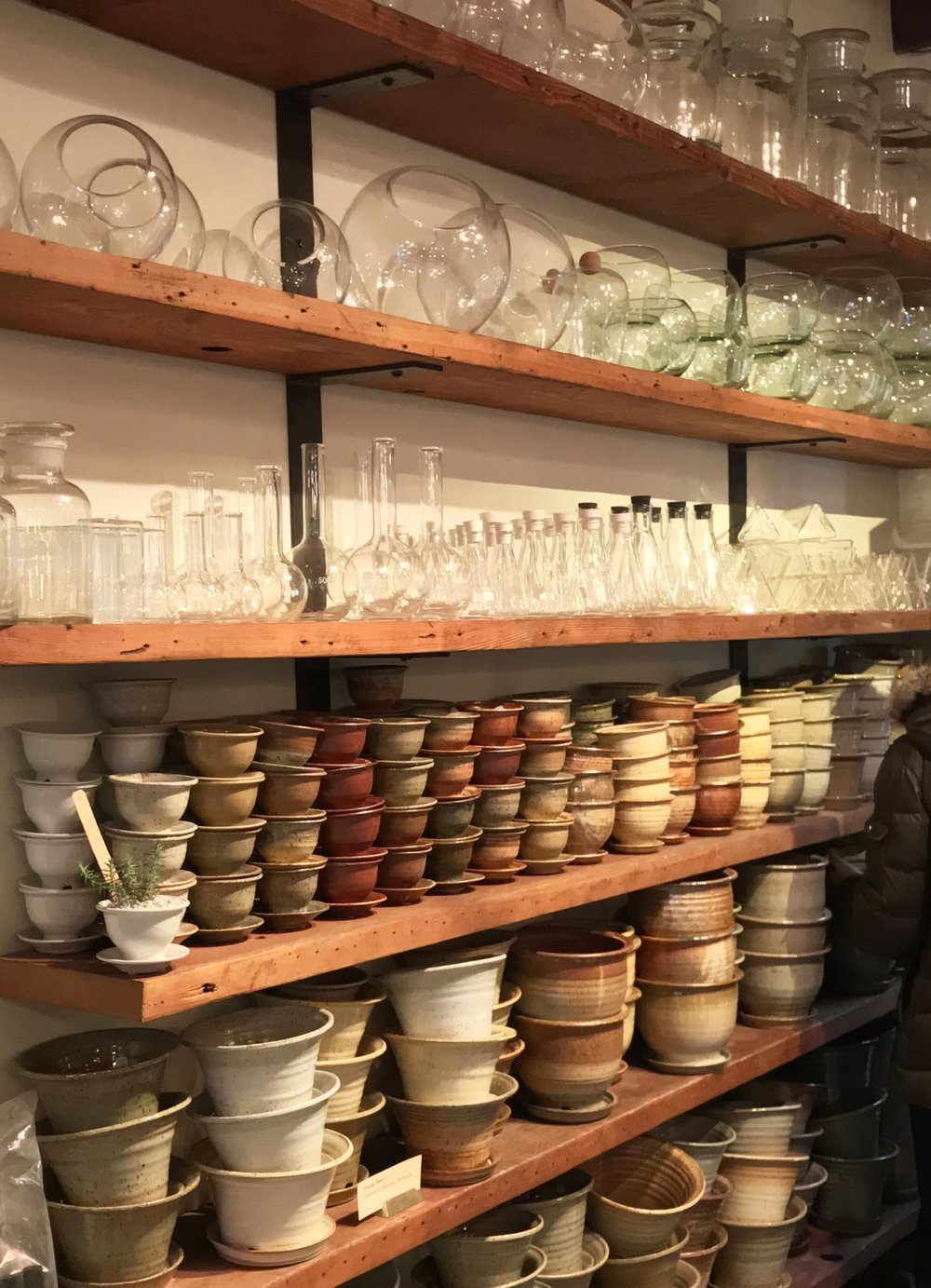 Lots of PNW hand-made pots and glass vessels for hanging compositions.