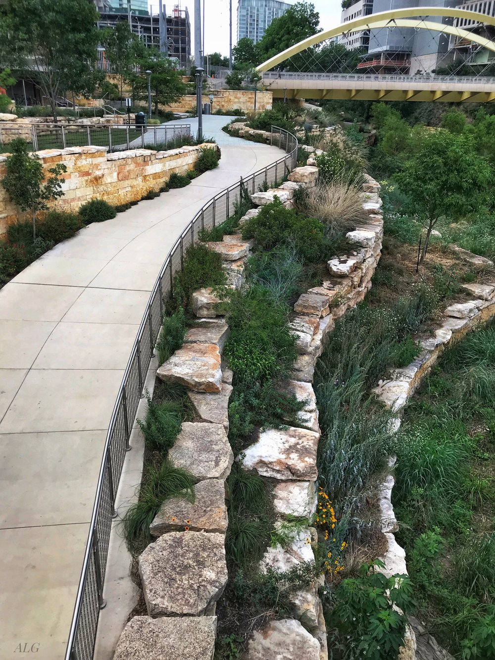 Adjacent to Austin Central Library (to the left of this photo) are Shoal Creek Trail and the Second Street bridge.