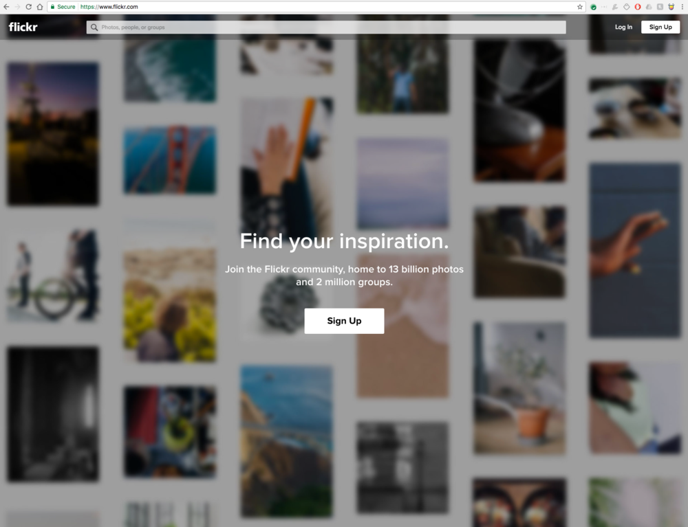 Flickr front page. You can't see anything without logging in!