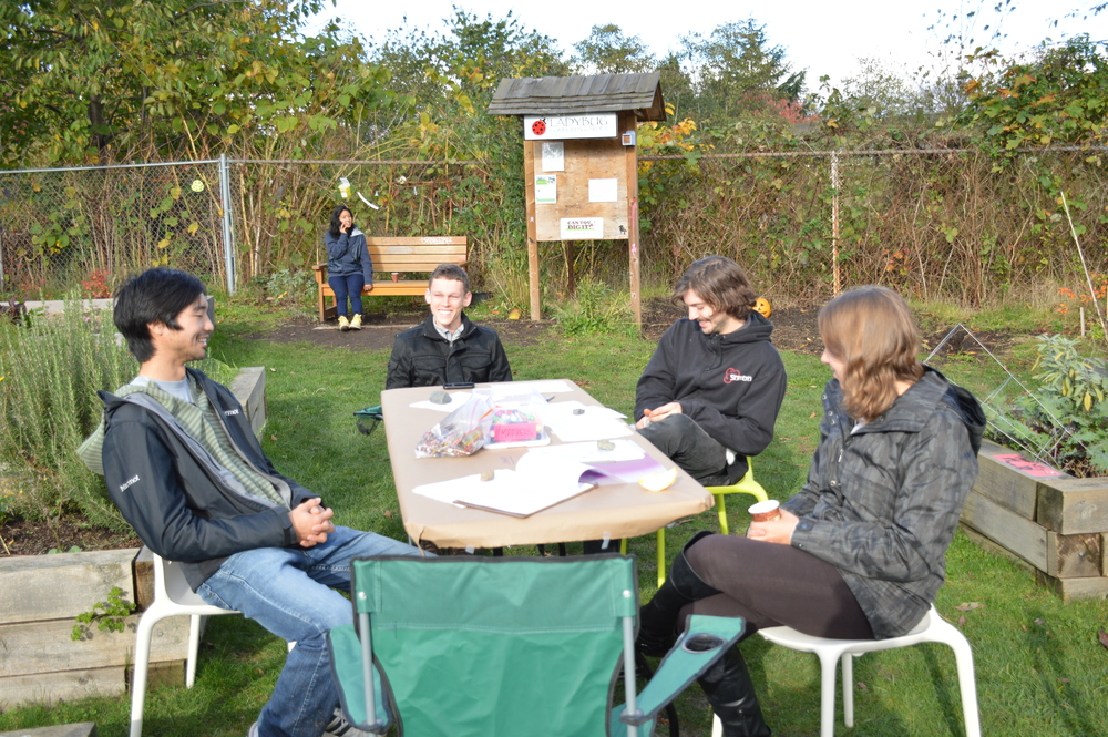 The Shareable Neighbourhood project team on site at Ladybug Community Garden hosting a public outreach event.