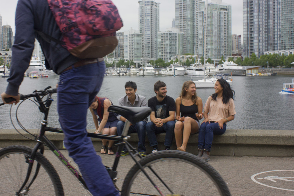 The Uproot team photo being foiled by a fellow bike lover