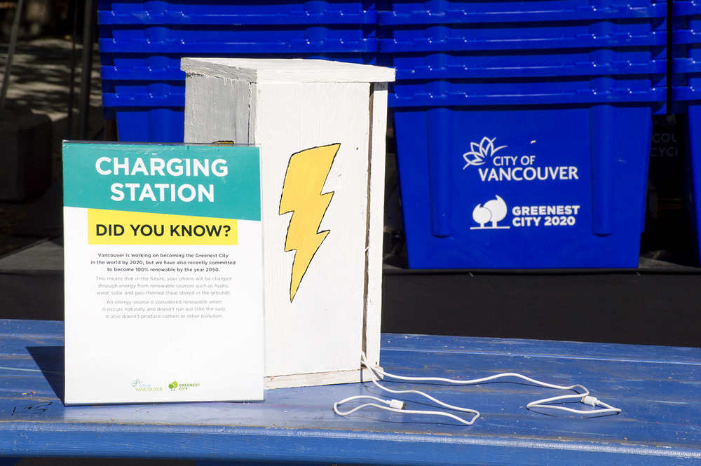 Charging stations at the City Pavilion at the PNE, Aug 22-Sept 6