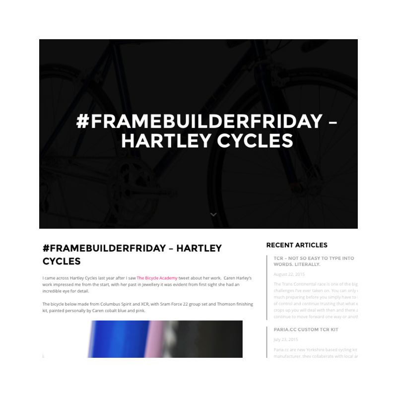 The Broken Line    Frame Builder Friday - Hartley Cycles