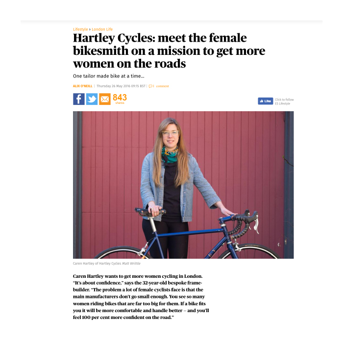 Evening Standard   Meet the female bikesmith on a mission to get more women on the roads