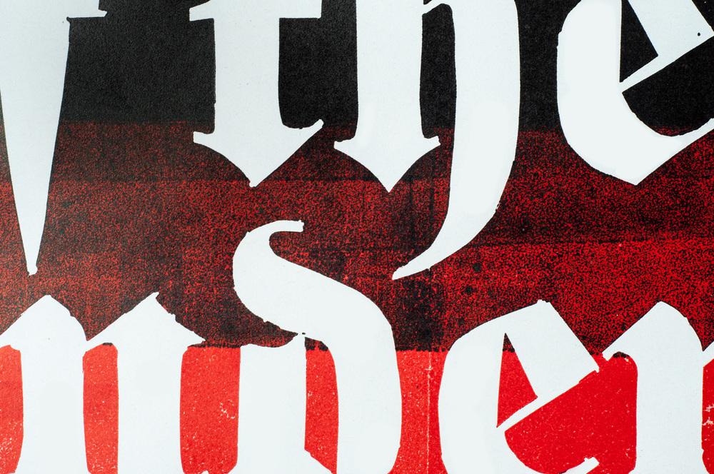 """Vergangene Konzerte   de  Das Plakat «Lords of the Underground» ist das erste einer Serie von Plakaten die mich an aussergewöhnliche aber schon lange vergangene Konzerte aus meinem Leben erinnern. Das Plakat wurde in Linoleum geschnitten und im Buchdruck gedruckt, jeweils mit unterschiedlichen Farben.   en  The poster """"Lords of the Underground"""" is the first of a poster series of extraordinary but long ago concerts in my life. The poster is a linoleum cut and is printed with letterpress in different colors.   2015   Linoleum/Buchdruck   420 x 594mm   Phillip Bührer"""