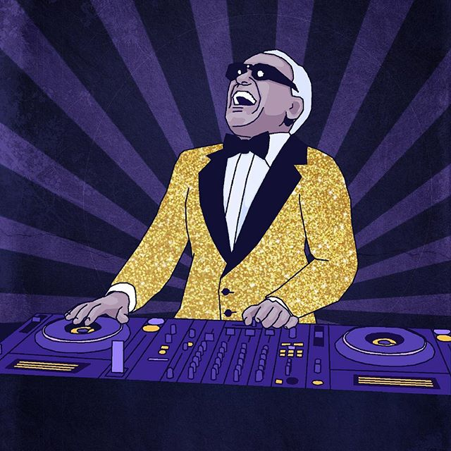 #RayCharles on the #WheelsOfSteel, an #illustration for Drumchapel Foodbank's upcoming fundraiser. See my Facebook page for the link 👏🏻 #illustration #purpleandyellow #charles #ray #pioneer #decks #turntables #graphicart