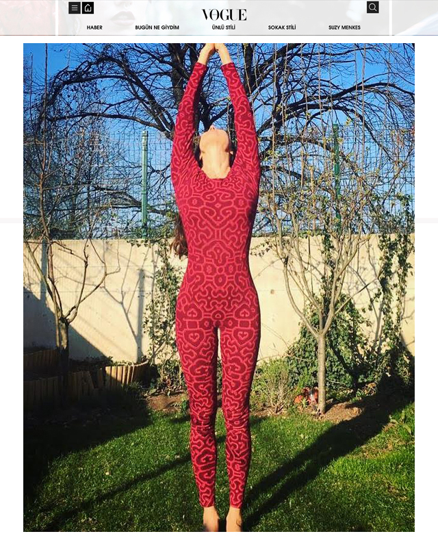 Party Jumpsuit in Wine-Pink as seen in #Vogue Turkey online worn as yoga wear   -