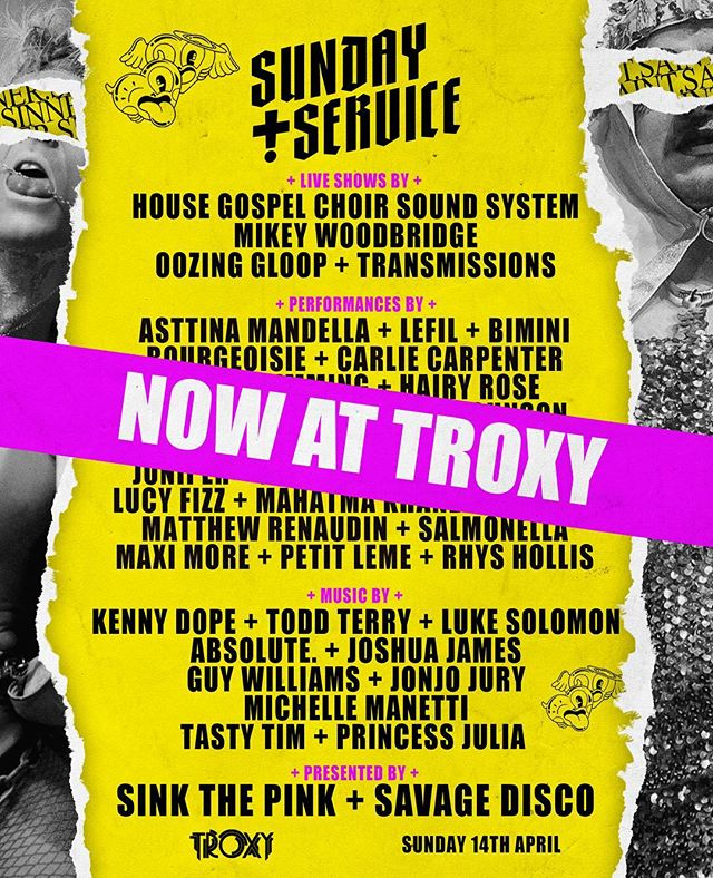 Due to unforeseen circumstances we regrettably can no longer hold Sunday Service at Printworks this Sunday. However, our old friends at  @troxylondon have stepped in to save the day and we are delighted to be bringing our new party to their legendary venue THIS SUNDAY!  There's still a few tickets left to catch all of this: - 40 Queens and Performers over 12 hours. - Live performances from the likes of @housechoir and @mikey.woodbridge . - House and Disco legends @djtoddterry and @kdope50 - The best Savage DJs across two rooms. - @tete_bang's Pop Heaven! - & more!!!!!!! All original tickets are still valid for Troxy… If you have any questions or queries, please drop us an email oninfo@sinkthepink.co.uk