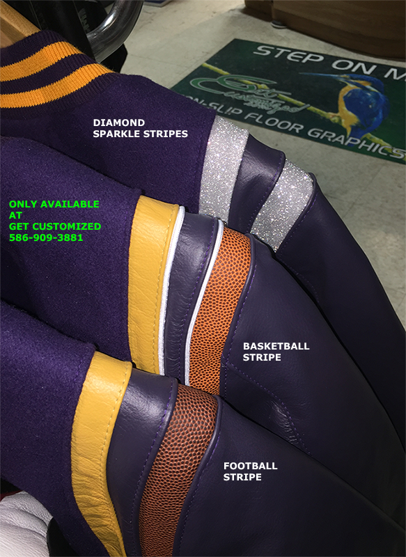 Special Diamond Sparkle Stripes on Varsity Jacket.  Special Football and Basketball Stripes on Varsity Jacket.