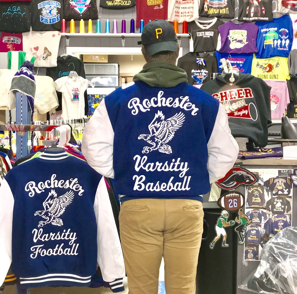 Rochester Varsity Jacket Huge Designs