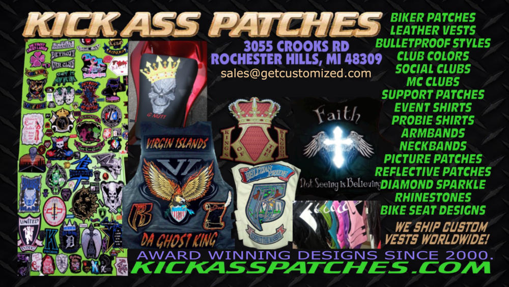 We are also KickAssPatches.com and have been shipping elaborate custom vests worldwide since the year 2000.  We are the best in the business, and each and every design kicks ass.  People search us out far and wide, to make their designs, and we don't even have enough time to put all the pictures of all the amazing things we have done over the last 18 years.  We have repeat biker customers for over 10 years now.  Check out our facebook page. Kick Ass Patches.  Elaborate varsity jacket designs on Instagram, GetCustomized