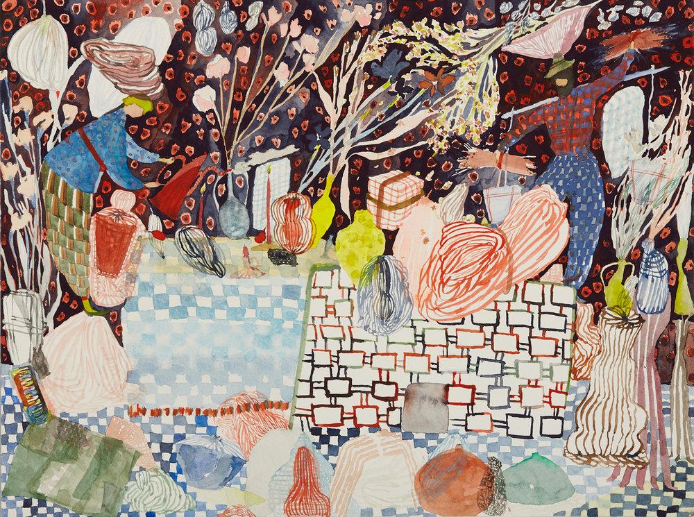 "Das Bäckerfest (The Baker's Feast)   Watercolor on paper, 2017  9"" x 12""  Sold"