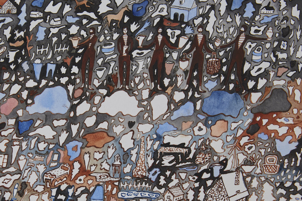 "The French Villagers, detail   Gouache and watercolor on paper, 2014  11"" x 15""  Available"