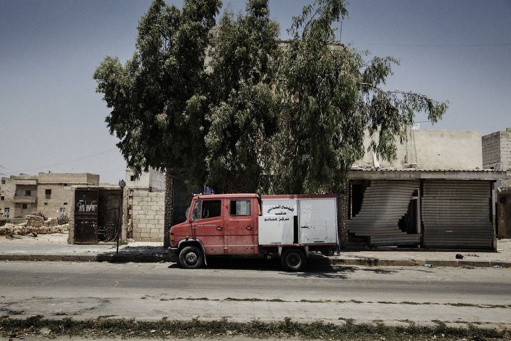 The bullet riddled rescue truck used by the Civil Defense Team in Aleppo, Syria. June 18, 2014.