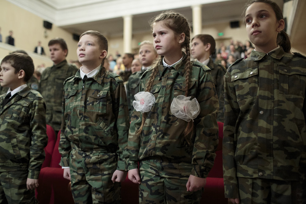 Students from School #18 perform a show at the local theater in Sergiyev Posad, Russia, December 15, 2016. The show promotes the cadet school at School #18. © Sarah Blesener