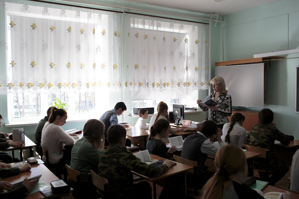 A class is in session at School #7, April 5, 2016, Dmitrov, Russia. School #7 is a public school but offers cadet classes for those who wish to participate. The benefit of participating in cadet classes includes free lunch, while other students have to pay. © Sarah Blesener
