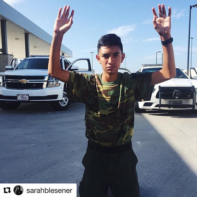 """#repost Continuing our catch-up with #catchlightfellow @sarahblesener this morning with the latest. """"Santos during a search and arrest drill as part of a vehicle stop. Santos is part of the Border Patrol Explorer program, training high schoolers in Kingsville, TX. Their post is in charge of patrolling the largest ranch in Texas"""" #riogrande #border #texas #tx #kingsville  #borderexplorer"""