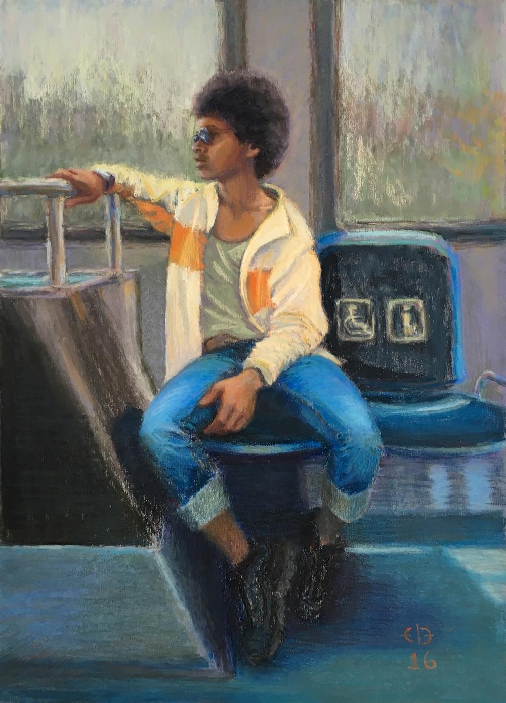"""Blue Bus (2016, 22""""H x 16""""W)"""