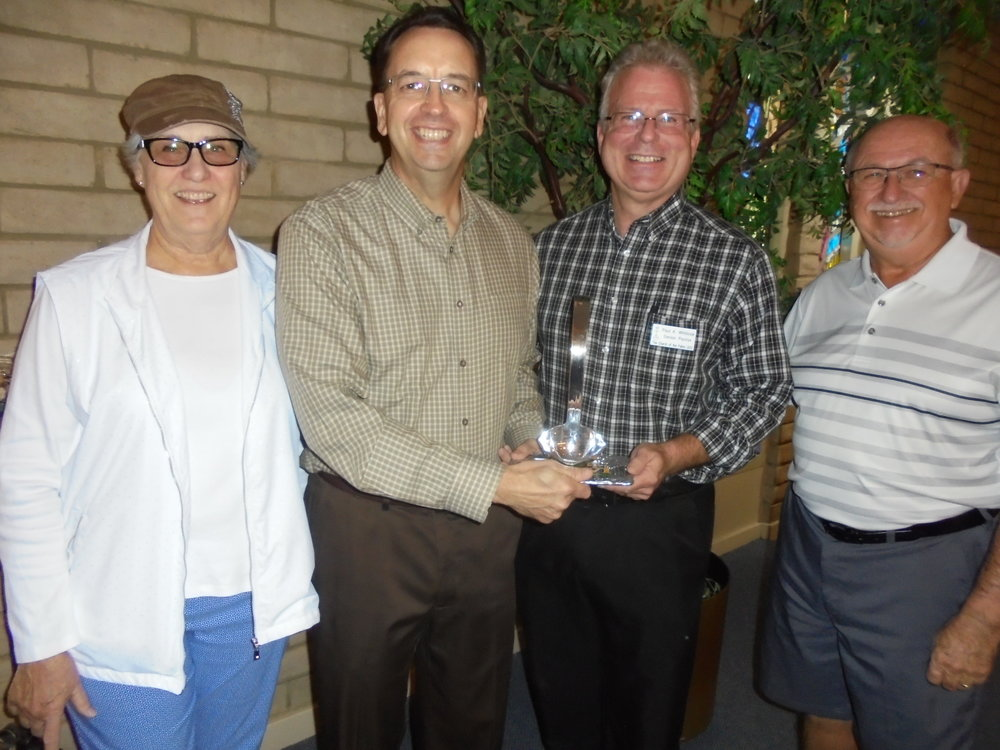 from left: Hedy Hall, United Church of Sun City Mission Board Chair; Rev. Brady Abel, Sr. Pastor United Church of Sun City; Rev. Paul Whitlock, Sr. Pastor of Church of the Palms – Sun City; Norm Still, United Church of Sun City Vice-Moderator