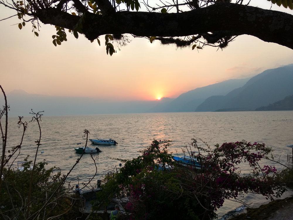 Sunset over Lake Atitlan.