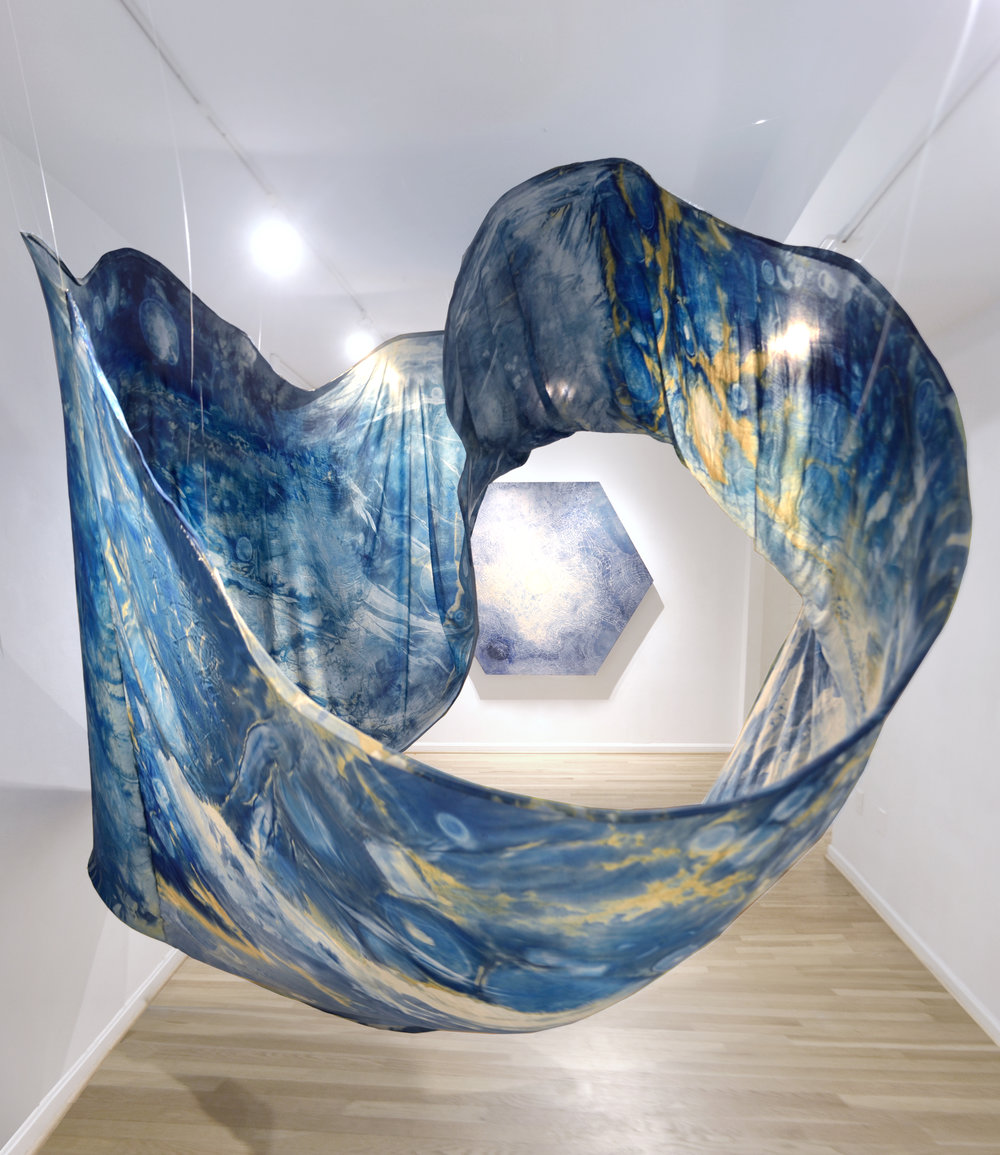 installation views of silk cyanotype, acrylic and watercolor on shaped canvas, & oil on glass paintings