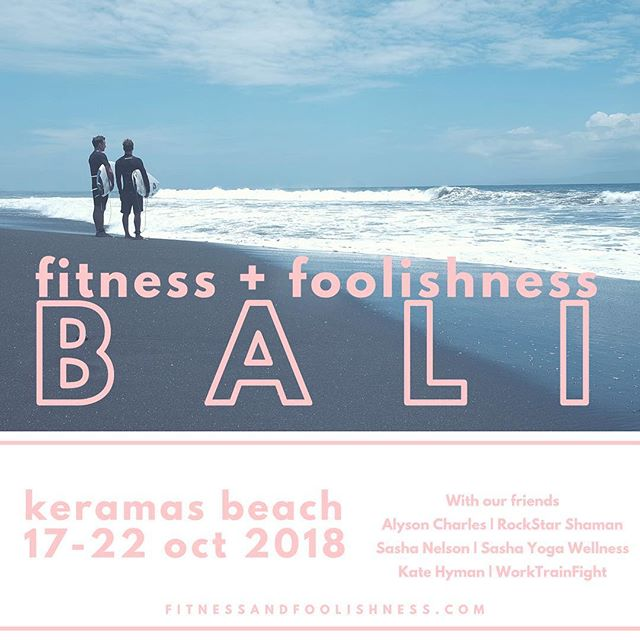 Time to start planning for an endless summer. Join us in Bali 17-22 oct for our next retreat. We had a blast last year, so this year we are bringing our friends @iamalysoncharles @sashayogawellness @_squatcity to get in on the Fitness fun. DM us with any questions or go to fitnessandfoolishness.com to save your spot with only a deposit.