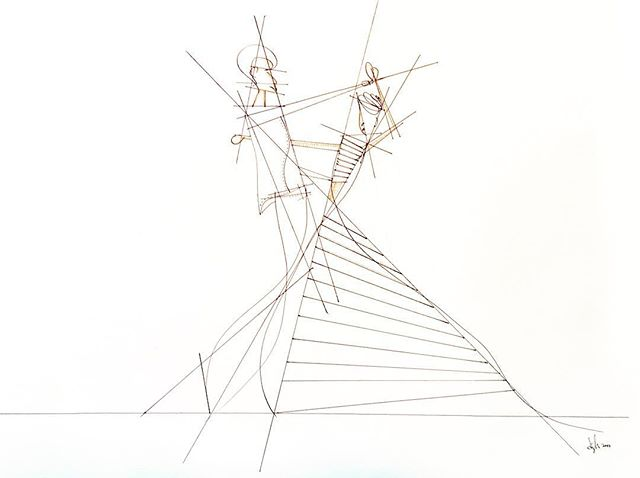 #drawing #lineart #art #dancing #dancers #abstract #geometry #geometric #dress