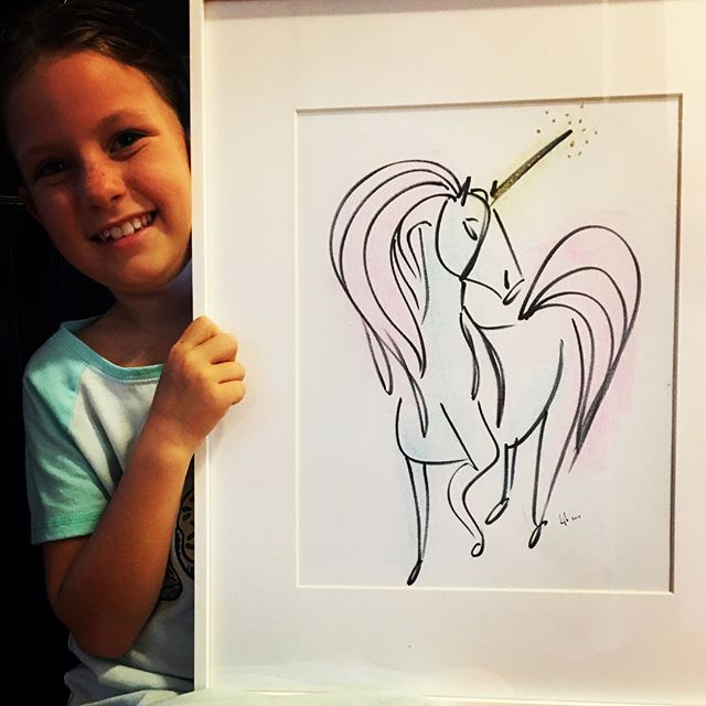I don't normally take requests but this girl is pretty dang adorable. And she's my daughter. #drawing #art #unicorn #animal #frame #girl #pink #daughter #horse #pony