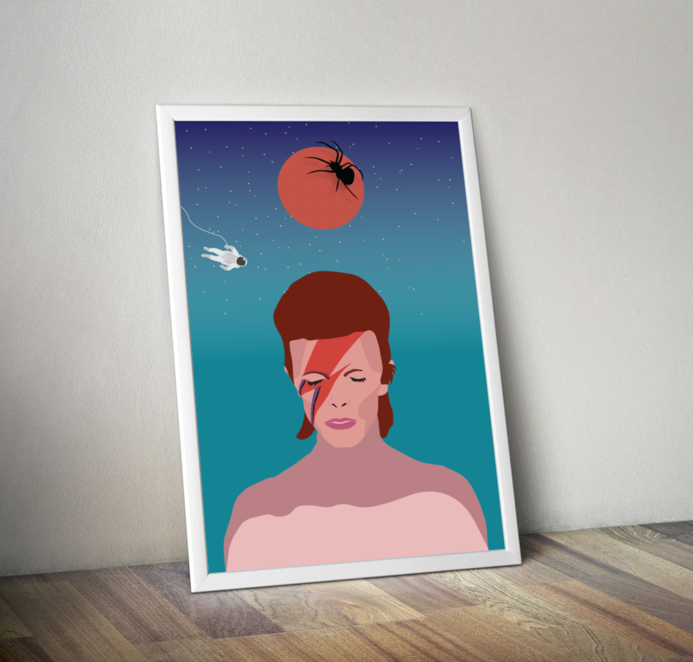 "David Bowie's ""Ziggy Stardust, Major Tom, and the Spiders from Mars"" Print"