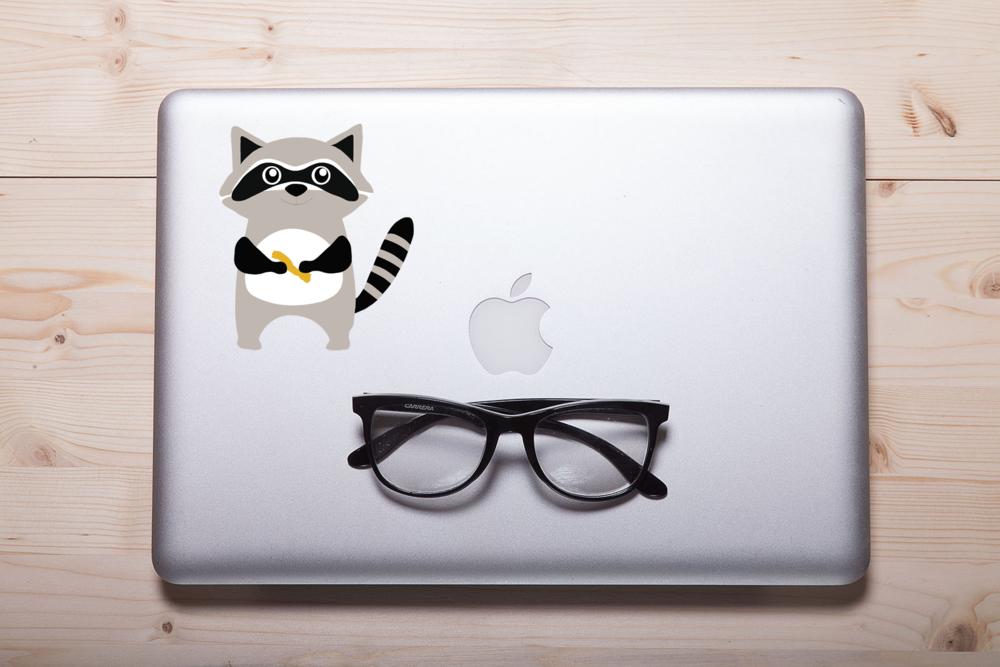 """Cheetos Raccoon"" Laptop Sticker"