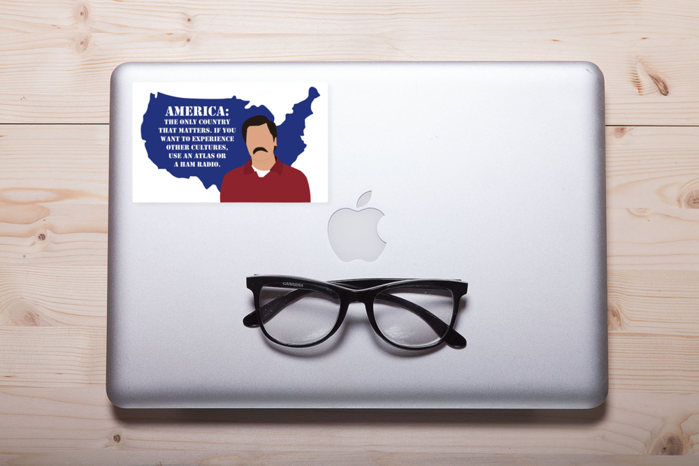 "Parks and Recreation ""America"" Laptop Sticker"