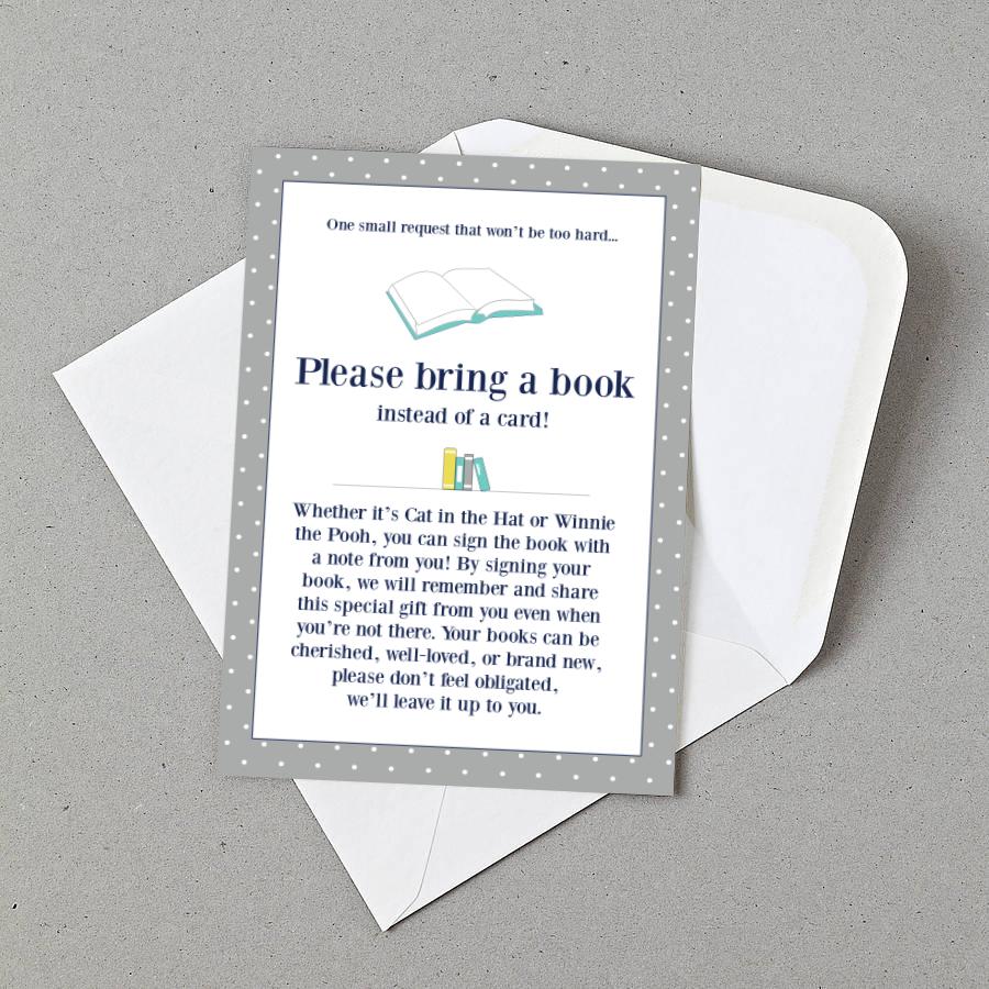 "Baby Shower ""bring a book"" Insert"