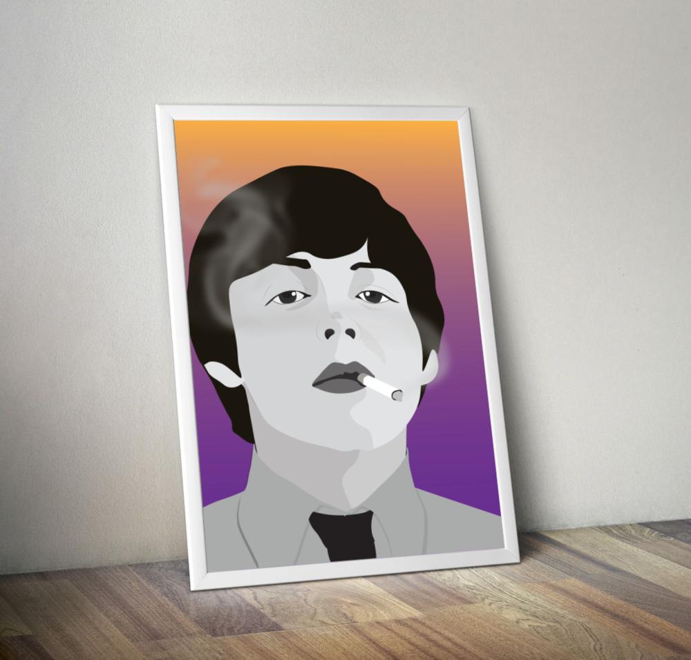 Young Smoking Paul McCartney Print