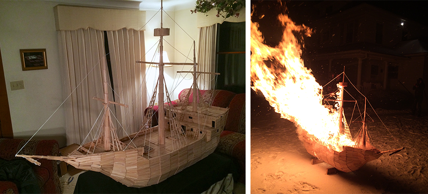 The ship completed after a full day of work and burning to the ground at midnight.