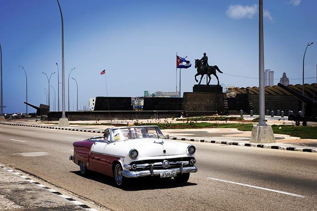 Walking along the Malecón for our first moments in Cuba.