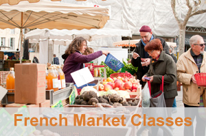 FRENCH MARKET CLASS - Come & explore our local French markets every Tuesday, Wednesday & Friday and be part of an important part of French culture. Learn how to select the freshest ingredients for wonderful and delicious Mediterranean French recipes, and of course partake in some samplings along the way. TELL ME MORE