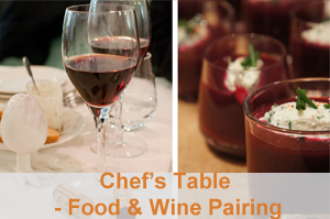 CHEF'S TABLE - FOOD & WINE PAIRING - Step inside the chef's kitchen accompanied by an experienced sommelier and enjoy an evening of wine pairing to the beautiful composed tasting plates whipped up by our chef. This is a hands-off class. Just sit back and let us be your guides. COUNT ME IN